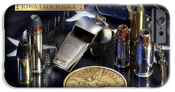 Police iPhone Cases - Iowa City Police St Michael iPhone Case by Gary Yost