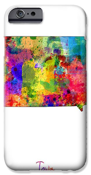 Geography iPhone Cases - Iowa Map iPhone Case by Michael Tompsett