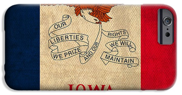 Iowa iPhone Cases - Iowa State Flag Art on Worn Canvas iPhone Case by Design Turnpike