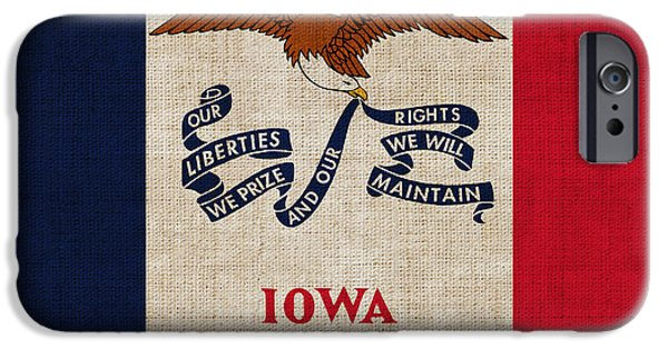 Iowa iPhone Cases - Iowa state flag iPhone Case by Pixel Chimp