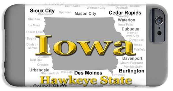 Iowa iPhone Cases - Iowa State Pride Map Silhouette  iPhone Case by Keith Webber Jr