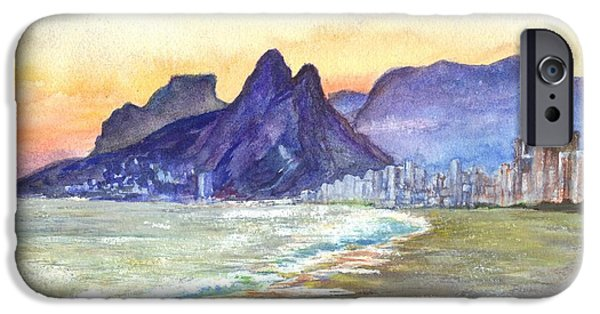 Ocean Sunset Drawings iPhone Cases - Sugarloaf Mountain and Ipanema Beach at Sunset Rio DeJaneiro  Brazil iPhone Case by Carol Wisniewski