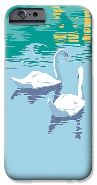 Garden Scene Paintings iPhone Cases - iPhone Case - Abstract Swans bird lake pop art nouveau retro 80s 1980s landscape stylized painting  iPhone Case by Walt Curlee