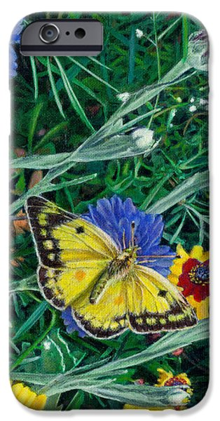 Garden Scene Paintings iPhone Cases - iPhone Case - Butterfly Wildflowers spring time garden floral oil painting green yellow iPhone Case by Walt Curlee