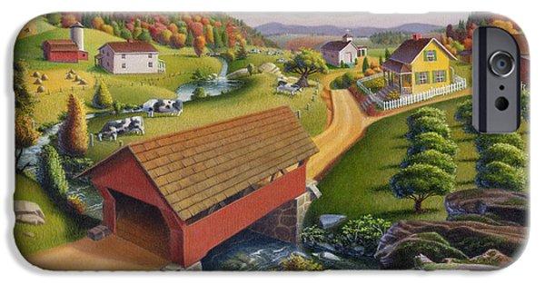 Covered Bridge Paintings iPhone Cases - iPhone Case - Farm Folk Art - Red Covered Bridge - Rural Americana iPhone Case by Walt Curlee