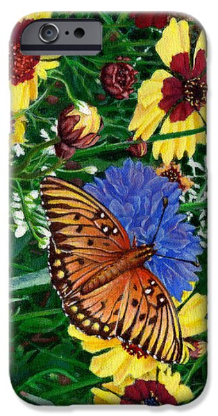 Garden Scene Paintings iPhone Cases - iPhone Case -Butterfly Wildflowers garden oil painting Floral green blue orange-2  iPhone Case by Walt Curlee