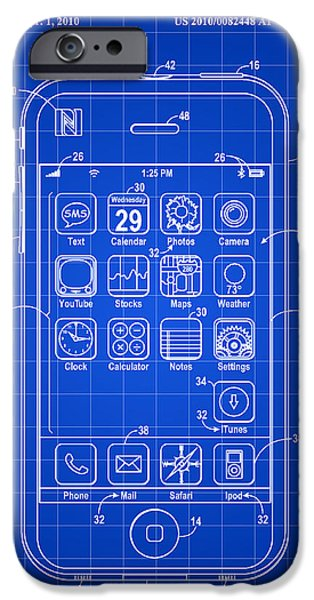 Phone iPhone Cases - iPhone Patent - Blue iPhone Case by Stephen Younts