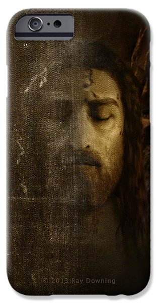 Turin Digital Art iPhone Cases - iPhone Shroud of Turin and Jesus iPhone Case by Ray Downing