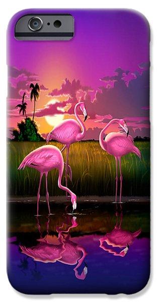 Coastal Decor Digital Art iPhone Cases - iPhone Case - Flamingoes Flamingos Tropical Sunset landscape florida everglades hot pink purple iPhone Case by Walt Curlee