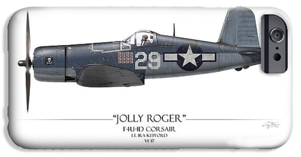Roger iPhone Cases - Ira Kepford F4U Corsair - White Background iPhone Case by Craig Tinder