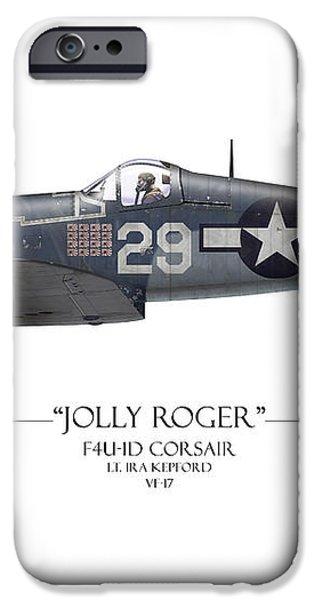 Ira Kepford F4U Corsair - White Background iPhone Case by Craig Tinder
