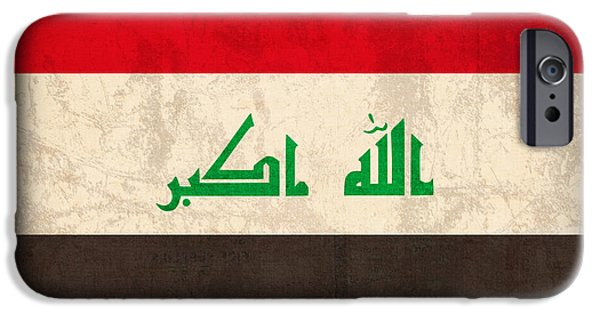 Iraq iPhone Cases - Iraq Flag Vintage Distressed Finish iPhone Case by Design Turnpike
