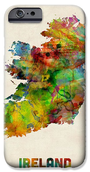 Ireland iPhone Cases - Ireland Eire Watercolor Map iPhone Case by Michael Tompsett