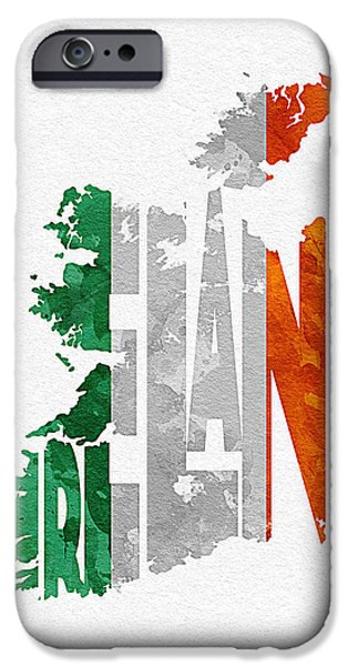 Dirty iPhone Cases - Ireland Typographic Map Flag iPhone Case by Ayse Deniz