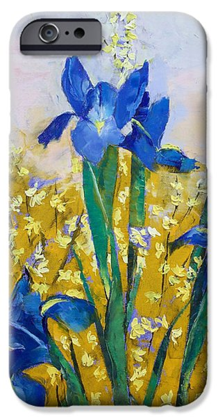 Michael iPhone Cases - Iris and Forsythia iPhone Case by Michael Creese