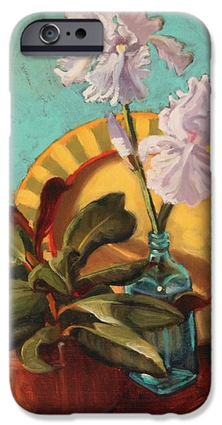Smithsonian Paintings iPhone Cases - Iris and Magnolia iPhone Case by Brenda Sumpter