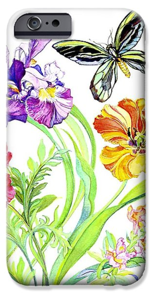 Floral Still Life Paintings iPhone Cases - Iris and Queen Alexandra Butterfly iPhone Case by Kimberly McSparran
