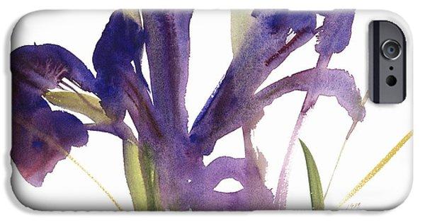 Petals iPhone Cases - Iris iPhone Case by Claudia Hutchins-Puechavy
