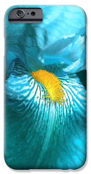 Yellow Bearded Iris iPhone Cases - Iris Flower in Turquoise  iPhone Case by Jennie Marie Schell