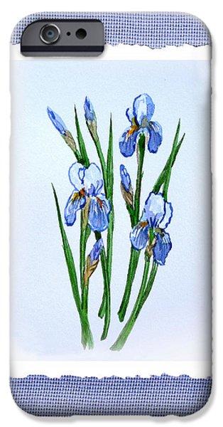Iris iPhone Cases - Iris Flowers Bouquet Botanical Impressionism iPhone Case by Irina Sztukowski