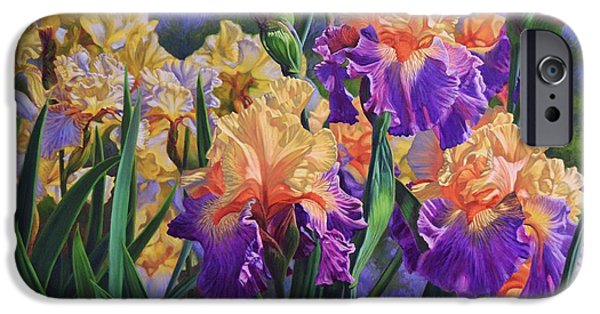 Chicago Paintings iPhone Cases - Iris Garden 1 iPhone Case by Fiona Craig