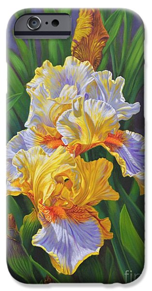 Yellow Bearded Iris iPhone Cases - Iris Garden 3 iPhone Case by Fiona Craig