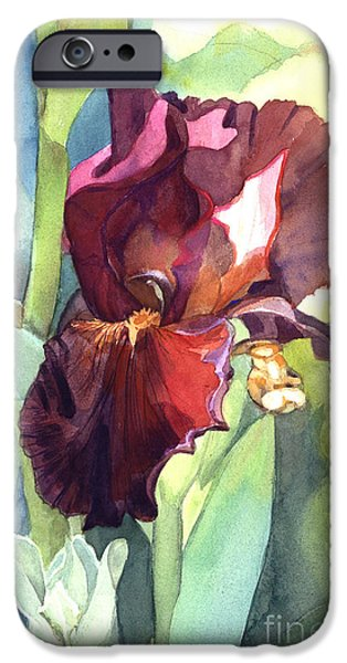 Botanic Illustration iPhone Cases - Iris in Red and Burgundy iPhone Case by Greta Corens