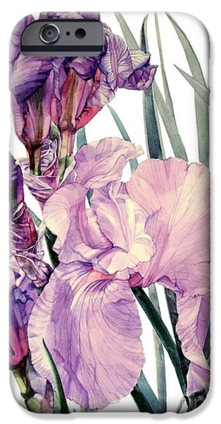 Botanic Illustration iPhone Cases - Iris Joan Sutherland iPhone Case by Greta Corens