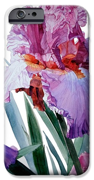 Botanic Illustration iPhone Cases - Iris Luciano Pavarotti iPhone Case by Greta Corens