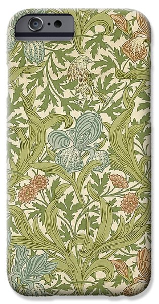 Birds Tapestries - Textiles iPhone Cases - Iris Pattern iPhone Case by William Morris