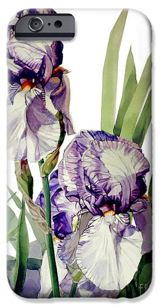 Botanic Illustration iPhone Cases - Blue-Violet and White Picata Iris Selena Marie iPhone Case by Greta Corens