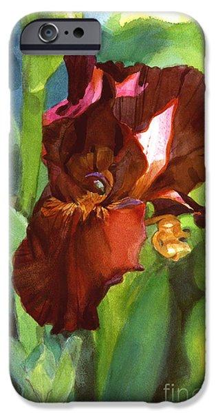 Botanic Illustration iPhone Cases - Iris Sienna Brown iPhone Case by Greta Corens