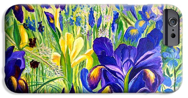 Garden Scene Paintings iPhone Cases - Iris Spring iPhone Case by Julie Brugh Riffey