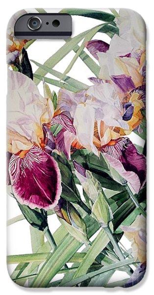 Botanic Illustration iPhone Cases - Iris Vivaldi Spring iPhone Case by Greta Corens