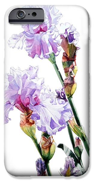 Botanic Illustration iPhone Cases - Lilac Iris Wendi iPhone Case by Greta Corens