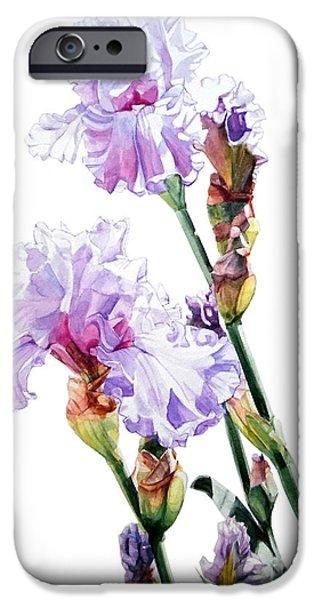 Botanic Illustration iPhone Cases - Lilac Iris Wendi iPhone Case by Greta Corens