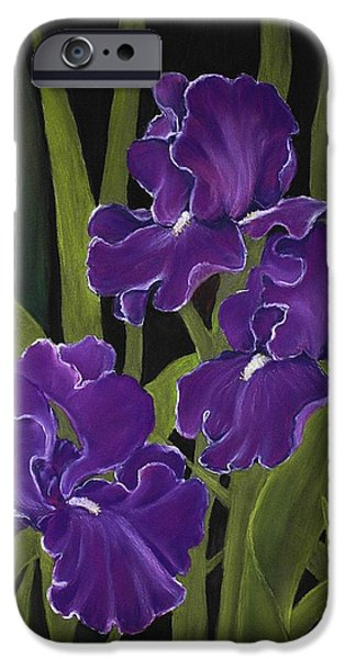 Plant Pastels iPhone Cases - Irises iPhone Case by Anastasiya Malakhova