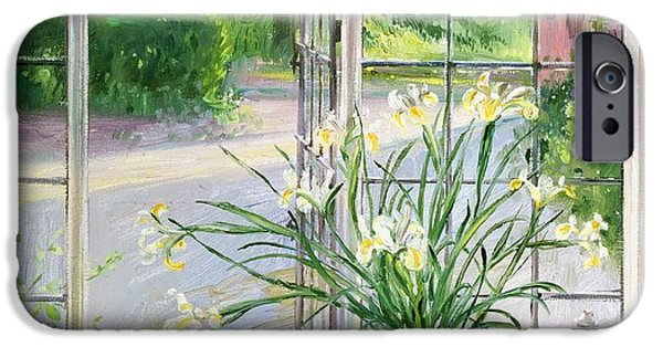 Ledge iPhone Cases - Irises and Sleeping Cat iPhone Case by Timothy Easton