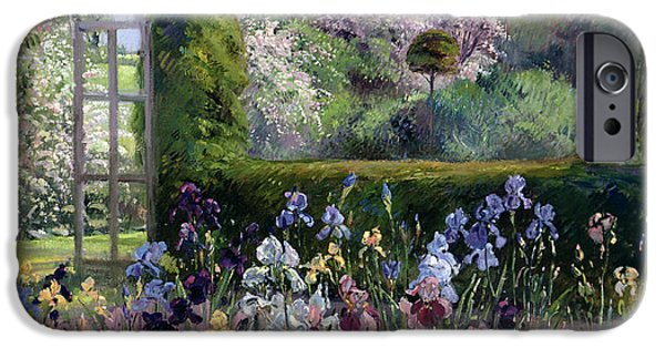 Gladioli iPhone Cases - Irises In The Formal Gardens, 1993 iPhone Case by Timothy Easton