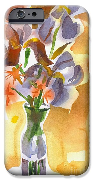 """indoor"" Still Life Paintings iPhone Cases - Irises with Stars of Bethlehem iPhone Case by Kip DeVore"