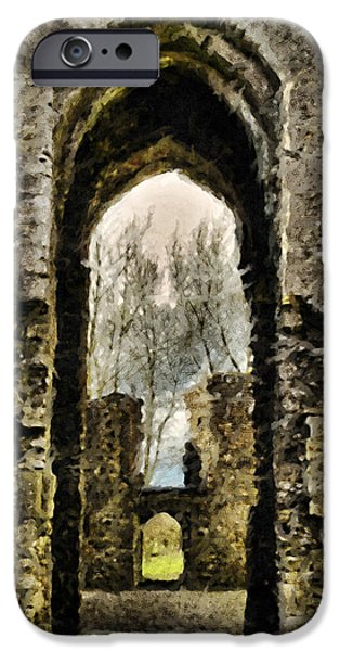Ruins Pyrography iPhone Cases - Irish Abbey ruins iPhone Case by Ibolya Szebeni