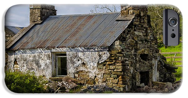 Famine iPhone Cases - Irish Cottage Ruins iPhone Case by Bill Cannon