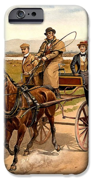 Horse And Buggy iPhone Cases - Irish Jaunting Car iPhone Case by Detroit Publishing Co