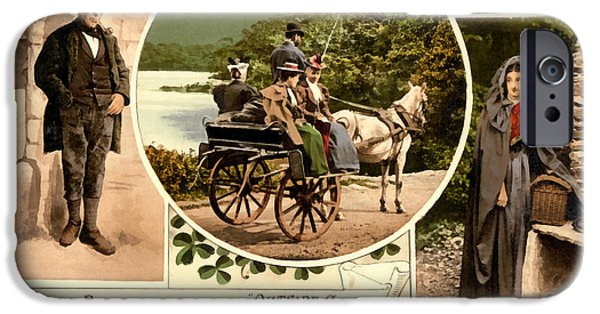 Horse And Buggy iPhone Cases - Irish Peasants and A Jaunting Car iPhone Case by Vintage Image
