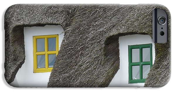 Window Of Life iPhone Cases - Irish Thatch Cottage colored windows iPhone Case by Patrick Dinneen