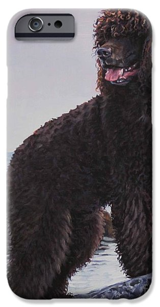 Puppies iPhone Cases - Irish Water Spaniel iPhone Case by Lee Ann Shepard