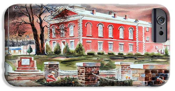 Storm Paintings iPhone Cases - Iron County Courthouse No W102 iPhone Case by Kip DeVore