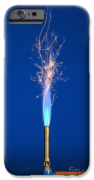 Sparking iPhone Cases - Iron Filings In A Bunsen Flame iPhone Case by Martyn F. Chillmaid