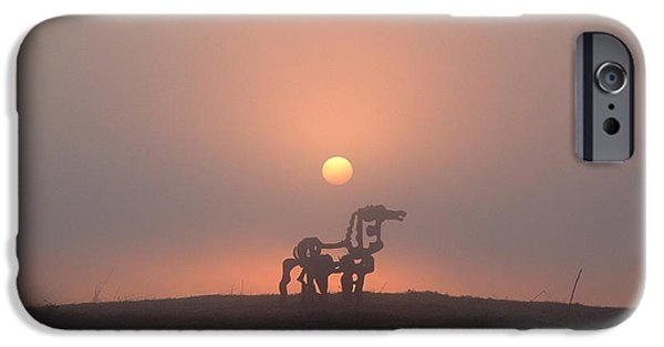 Field. Cloud iPhone Cases - Iron Horse Sunrise 2 iPhone Case by Reid Callaway