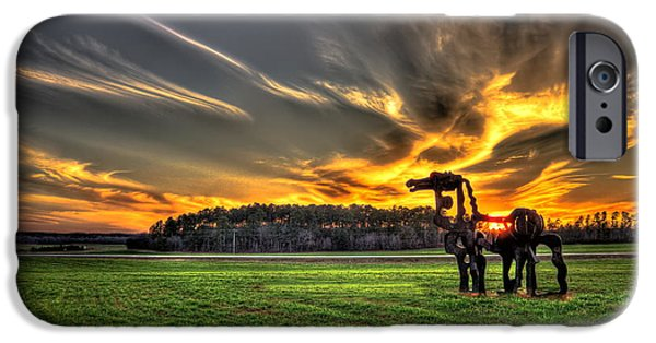 Hayfield iPhone Cases - The Iron Horse Sunset iPhone Case by Reid Callaway